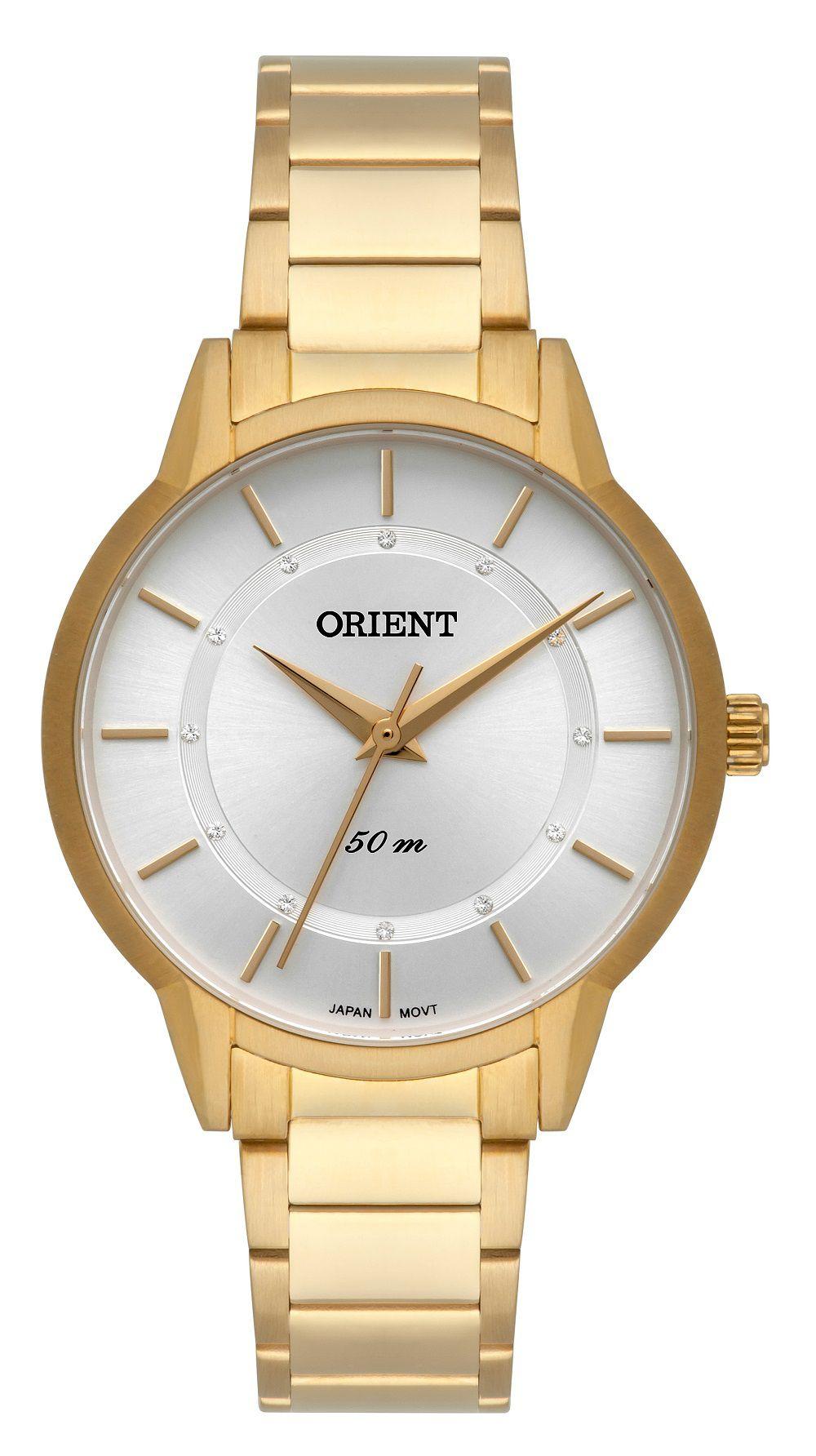 Relógio Orient Dourado com Branco FGSS0119