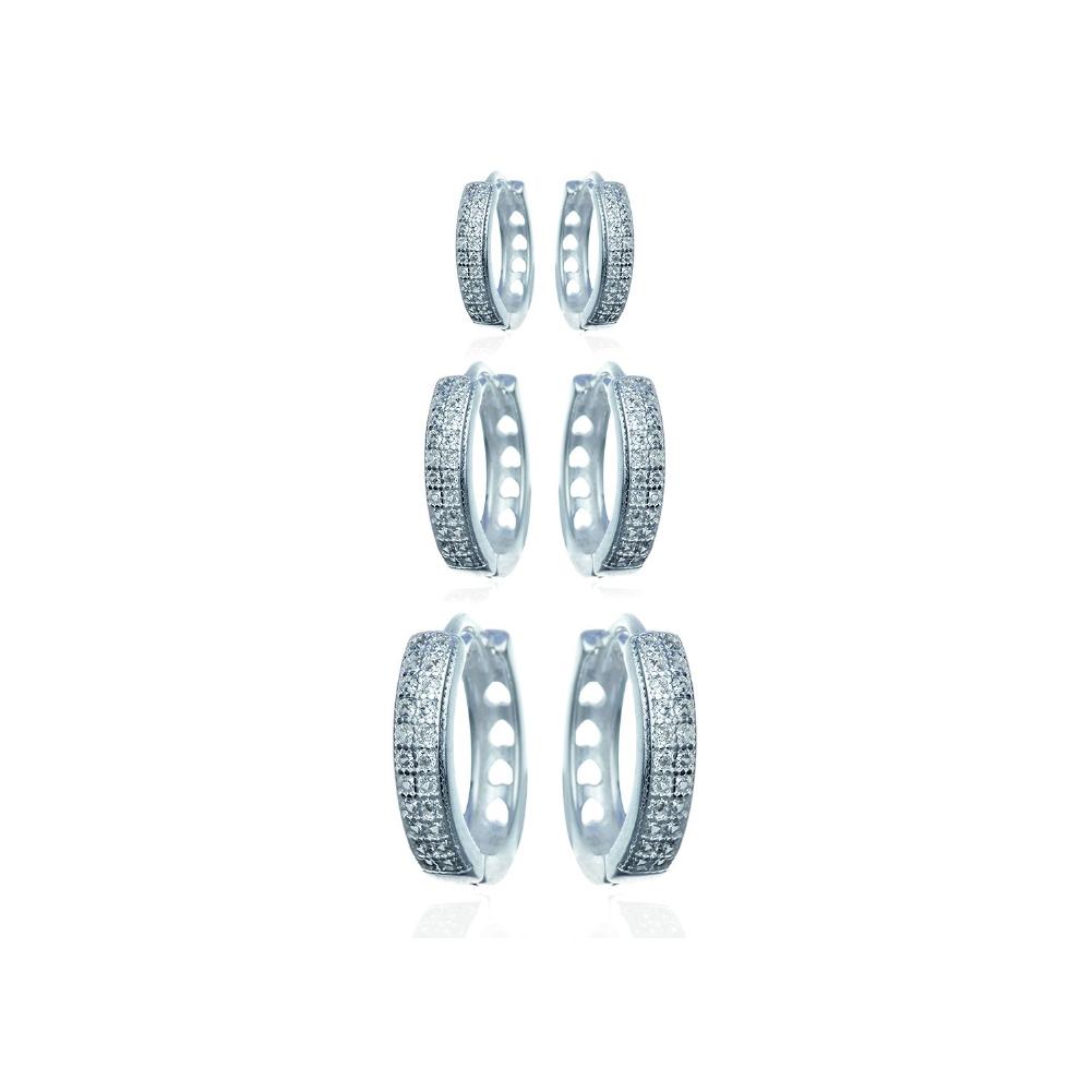 Trio de brincos de argola de prata com zircônia