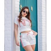Conjunto Blusa e Short Crepe NY Branco - Barbara