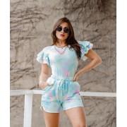 Conjunto Blusa e Short Tie Dye Manguinha Azul - Mayara