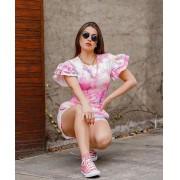 Conjunto Blusa e Short Tie Dye Manguinha Rosa - Mayara