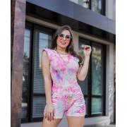 Conjunto Blusa e Short Tie Dye Muscle Tee Rosa - Anelize