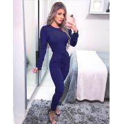 Conjunto  Feminino Calça e Blusa Manga Longa Azul - Carolina
