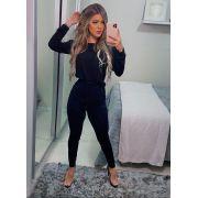 Conjunto  Feminino Calça e Blusa Manga Longa Preto - Carolina