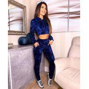 Conjunto Feminino Calça e Blusa Manga Longa Veludo Azul - Daniela