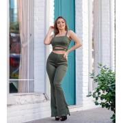 Conjunto Feminino Cropped e Calça Flare Verde - Catherine