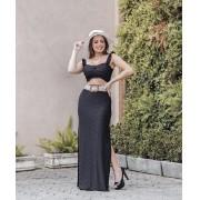 Conjunto Feminino Preto Saia Longa e Cropped – Ana Clara
