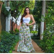 Conjunto De Saia Estampado Floral e Blusinha Com Bojo