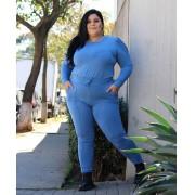 Conjunto Plus Size Feminino Calça e Blusa Azul - Carolina