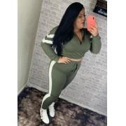 Conjunto Plus Size Moletinho Faixa Lateral Branca e Ziper Frontal Verde – Vanessa