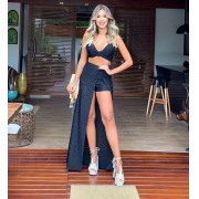 Conjunto Saia com Fenda e Cropped All Black – Lais