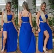 Conjunto Saia com Shortinho e Cropped de Alcinha Azul Liso - Adriana