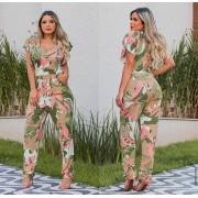 Macacão Feminino Longo Manguinha Curta Estampado Verde sem Bojo - Renata
