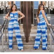 Macacão Feminino Longo Tie Dye Azul com Bojo - Camila