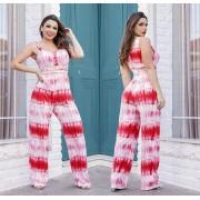 Macacão Feminino Longo Tie Dye Vermelho com Bojo - Camila