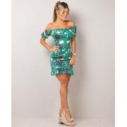 Vestido Curto Ciganinha com Babadinho Verde - Monique