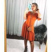 Vestido Curto Soltinho com Manguinha Marrom - Yasmin
