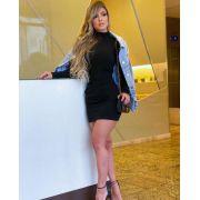 Vestido Curto Gola Alta Preto - Daniela