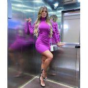 Vestido Curto Gola Alta Purpura - Daniela
