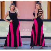 Vestido Longo Costas Nua Regata Preto com Pink - Yara