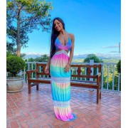 Vestido Longo Estampado Arco Iris Tie Dye - Liz