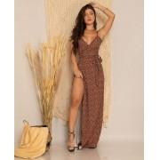 Vestido Longo Feminino Envelope Animal Print Alcinha - Adriana