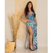 Vestido Longo Feminino Envelope Estampado Alcinha - Adriana