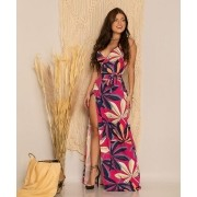 Vestido Longo Feminino Envelope Pink Estampado Alcinha - Adriana