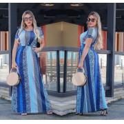 Vestido Longo Feminino Fechado com Manguinha e Bolso Estampado Azul - Amália
