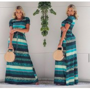 Vestido Longo Feminino Fechado com Manguinha e Bolso Estampado Verde – Ana Maria