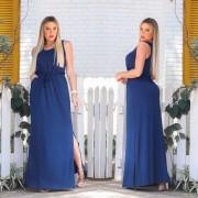 Vestido Longo Feminino Regata com Bolso e Fenda Azul Liso - Alice
