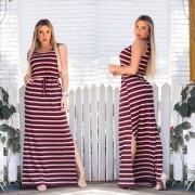 Vestido Longo Feminino Regata com Bolso e Fenda Bordô Listrado - Alice