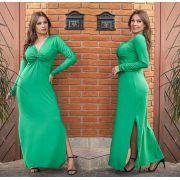Vestido Longo Manga Longa com Fenda Verde - Marina