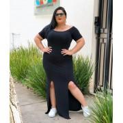 Vestido Plus Size Longo Feminino Canoa com Fenda e Bojo Preto - Valéria
