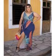 Vestido Plus Size Longo Feminino Envelope com Fenda Azul - Renata