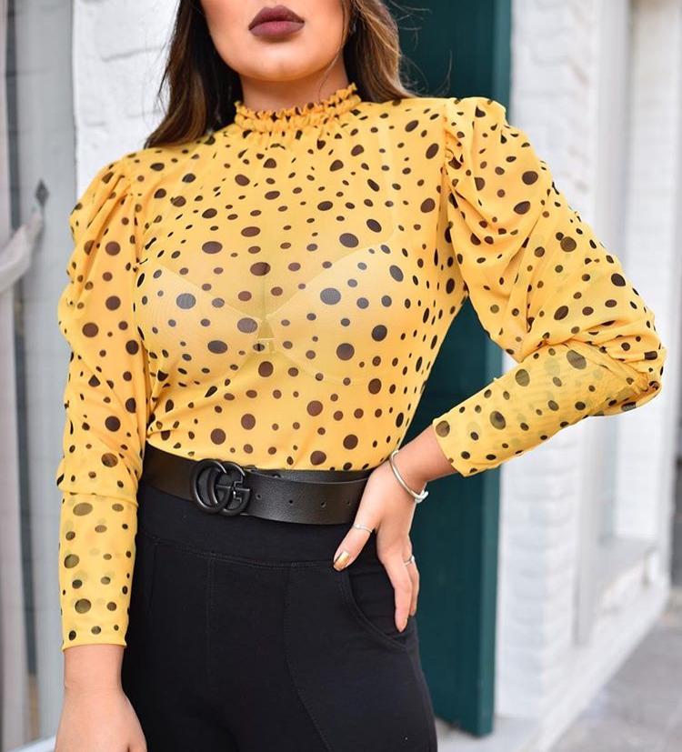 Blusa Tule Com Gola Manga Longa Amarelo com Preto - Adriana