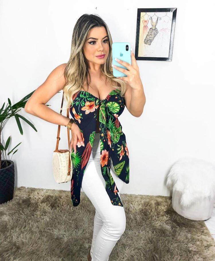 Blusinha Bata Feminina Tomara que Caia com Bojo Preto com Laranja - Sarah