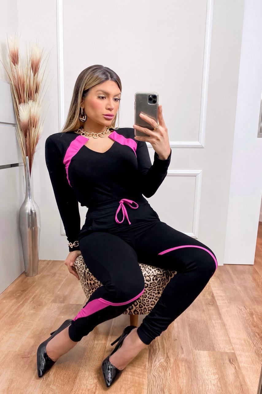 Conjunto  Feminino Calça e Blusa Manga Longa - Adriana