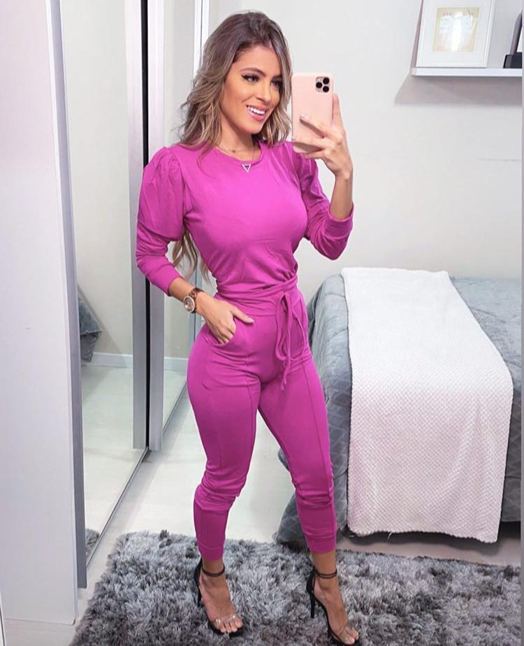 Conjunto  Feminino Calça e Blusa Manga Longa Pink - Carolina