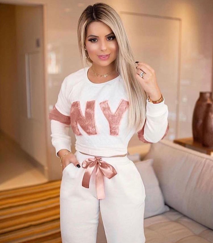 Conjunto Feminino Blusa e Calça NY Branco - Cecilia