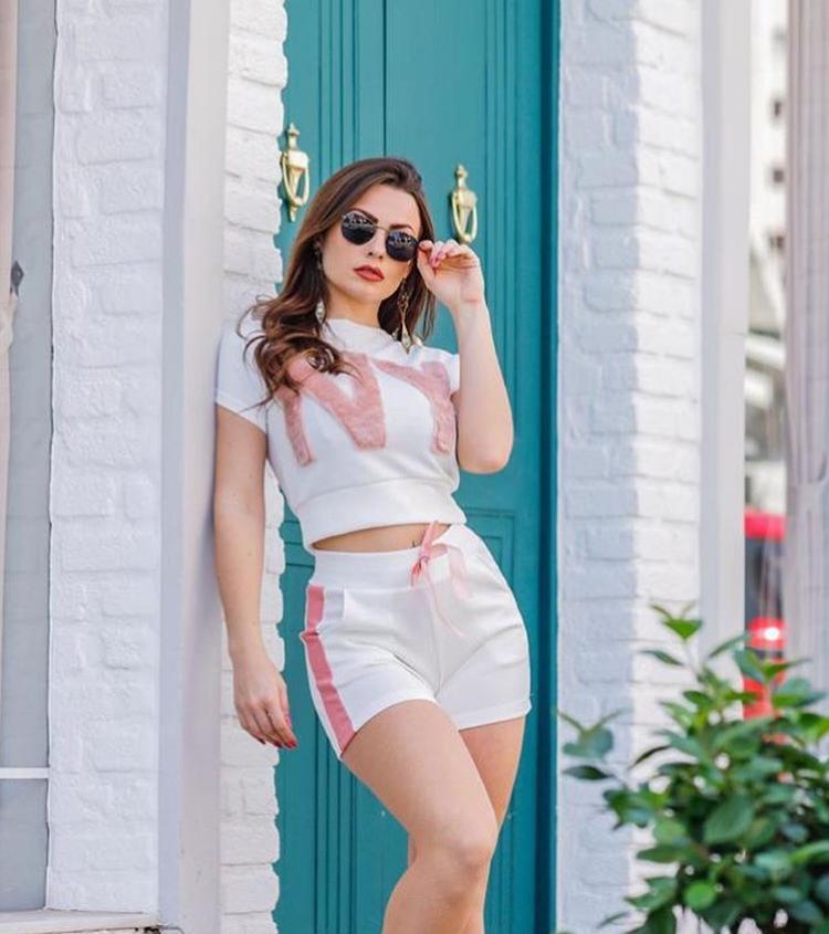 Conjunto Feminino Short e Blusa NY Branco - Mirella