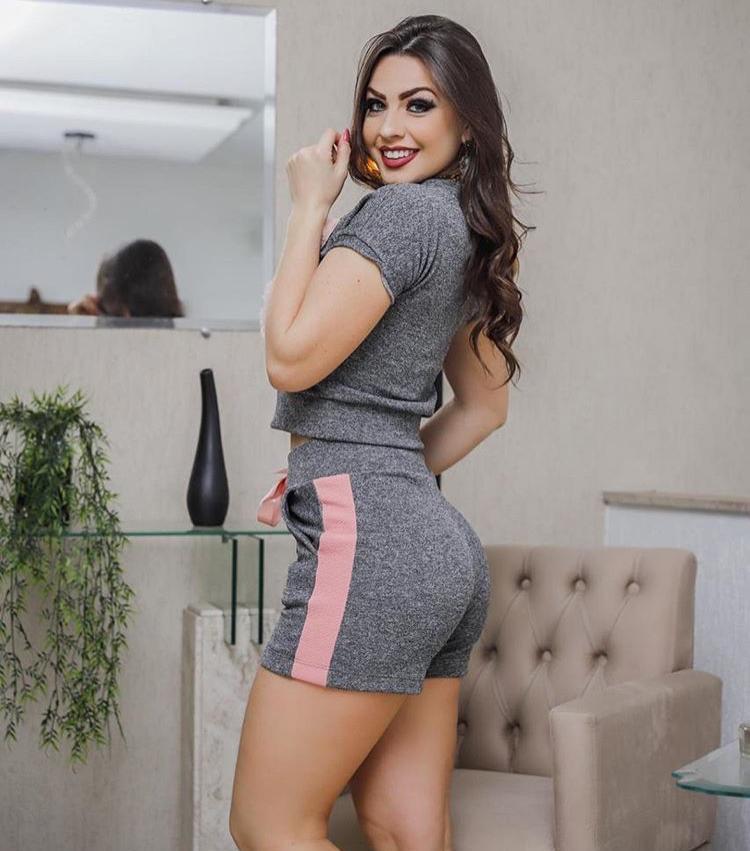 Conjunto Feminino Short e Blusa NY Cinza - Mirella