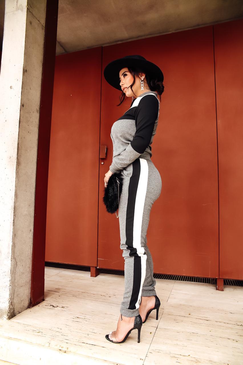 Conjunto Listrado Calça E Blusa Crepe Casual Roupas Luxo Top - Raquel
