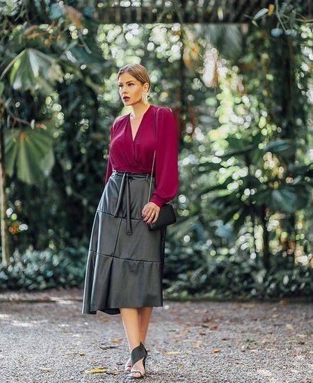 Vestido Blusa e Saia Couro Eco - Manuella