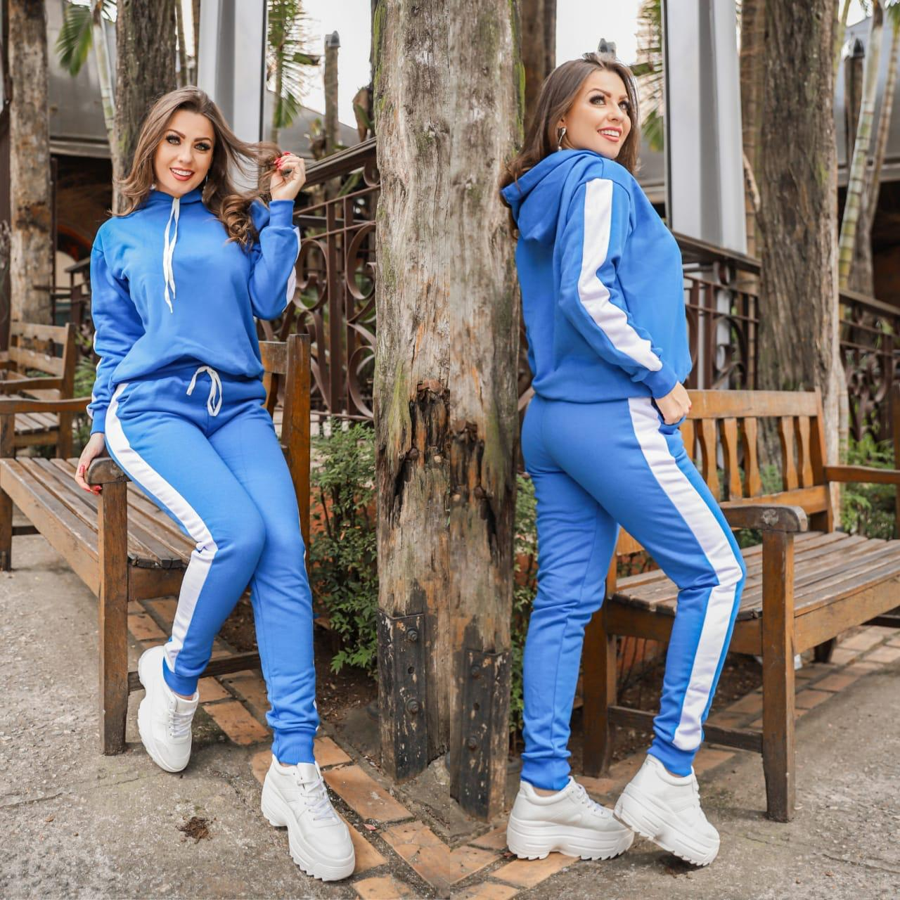 Conjunto Feminino Calça e Blusa Manga Longa Moletom Flanelado Azul - Debora