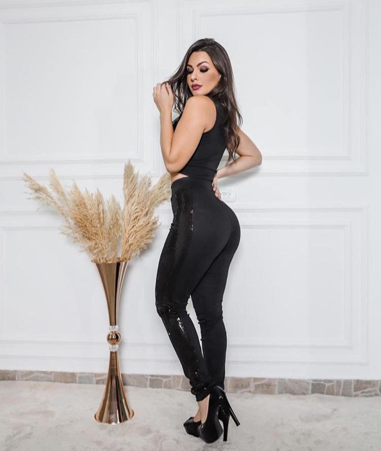 Conjunto Paetê Calça E Blusa Top Feminino Moda Blogueira Balada