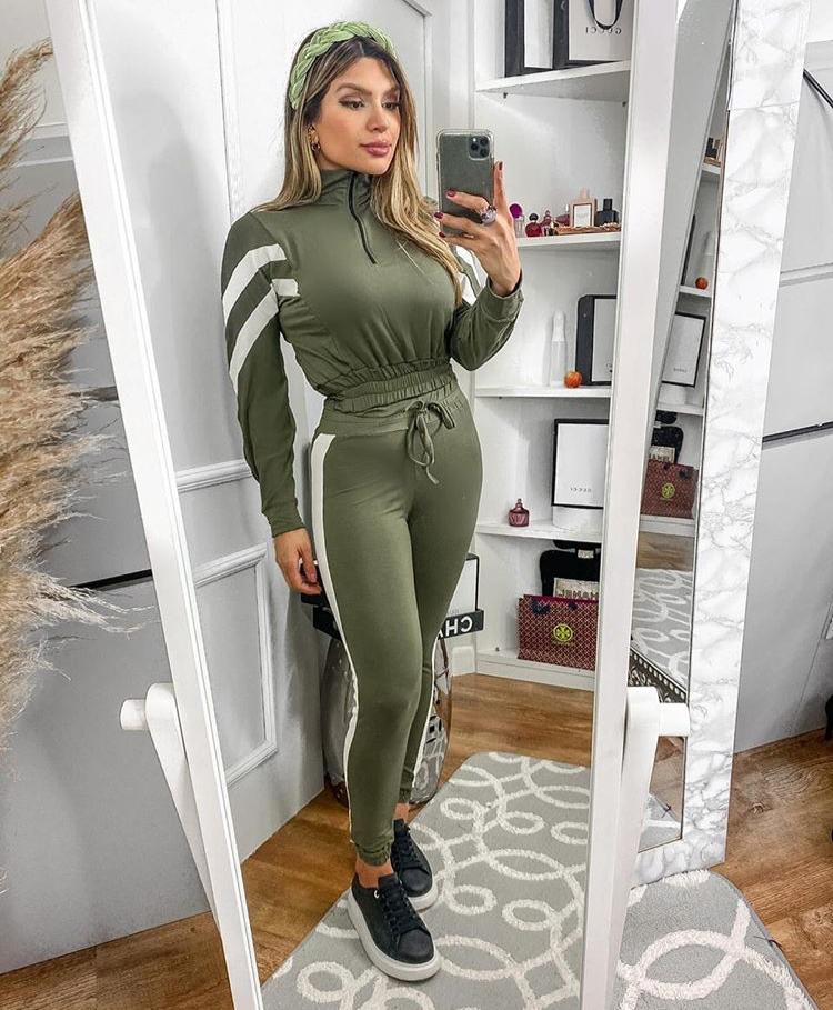 Conjunto Feminino Calça e Blusa Manga Longa Moletinho Verde - Rafaella