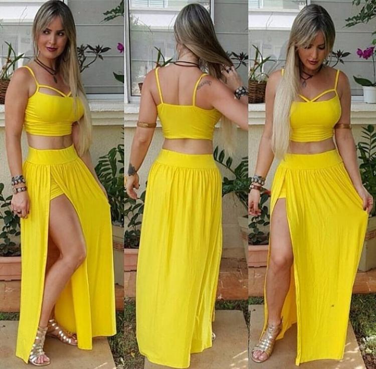 Conjunto Saia com Shortinho e Cropped de Alcinha Amarelo Liso - Adriana