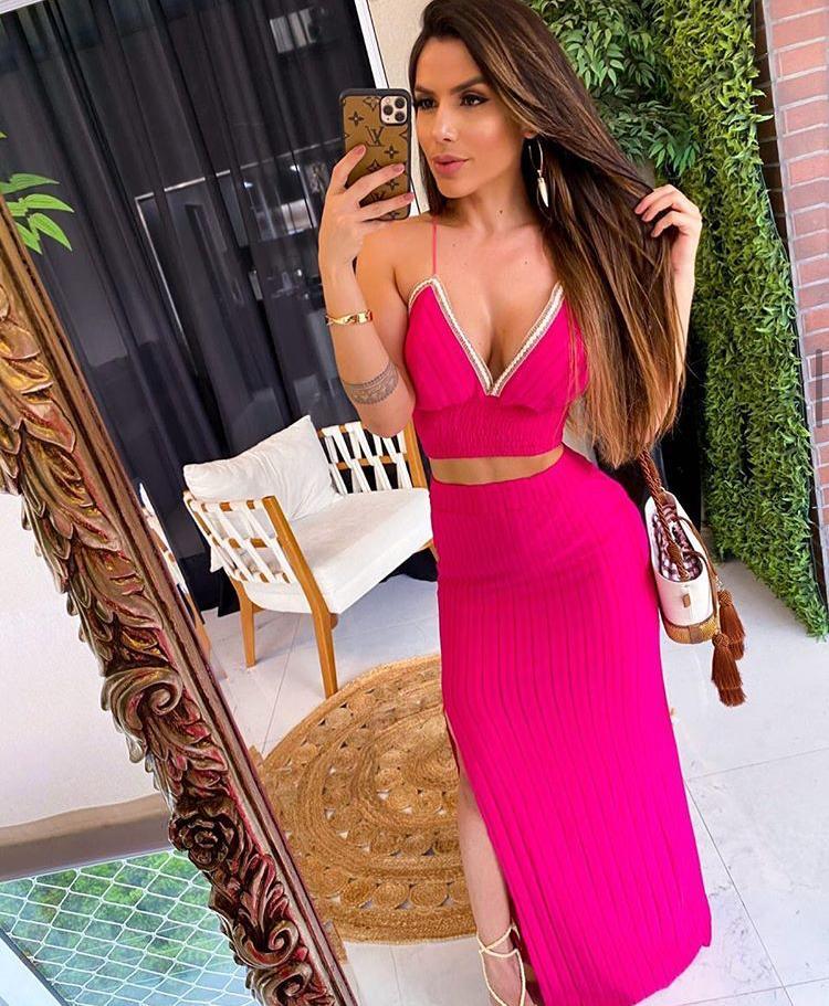 Conjunto Saia e Cropped Poliamida Pink - Stella