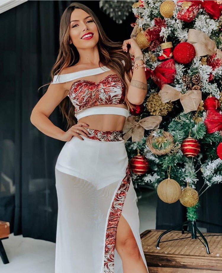 Conjunto Saia e Cropped Tule Natal Vermelho - Stella